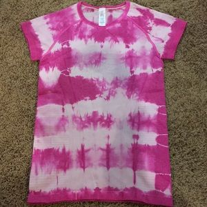 Ivivva girls pink and white athletic shirt